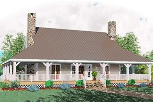 Southern Exterior - Front Elevation Plan #81-240