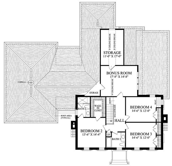 Colonial Floor Plan - Upper Floor Plan Plan #137-258