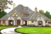 European Style House Plan - 4 Beds 3.5 Baths 3371 Sq/Ft Plan #310-975 Exterior - Front Elevation