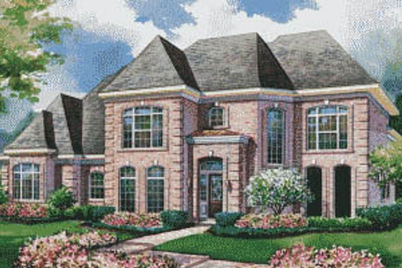 European Style House Plan - 4 Beds 3.5 Baths 3677 Sq/Ft Plan #20-1152 Exterior - Front Elevation