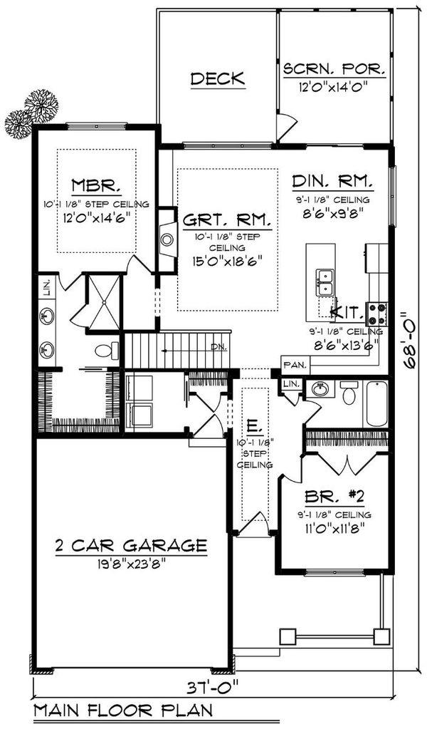 Ranch Floor Plan - Main Floor Plan Plan #70-1497
