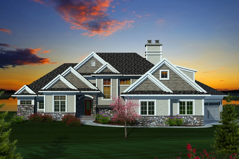 Craftsman Exterior - Front Elevation Plan #70-1130