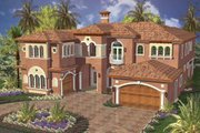 Mediterranean Style House Plan - 5 Beds 6.5 Baths 5642 Sq/Ft Plan #420-176 Exterior - Front Elevation