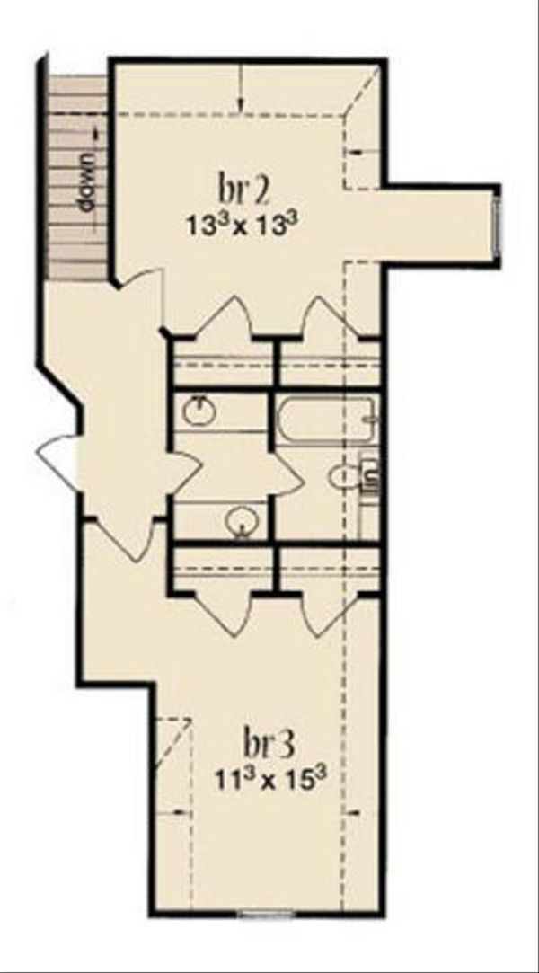 Cottage Floor Plan - Upper Floor Plan Plan #36-457