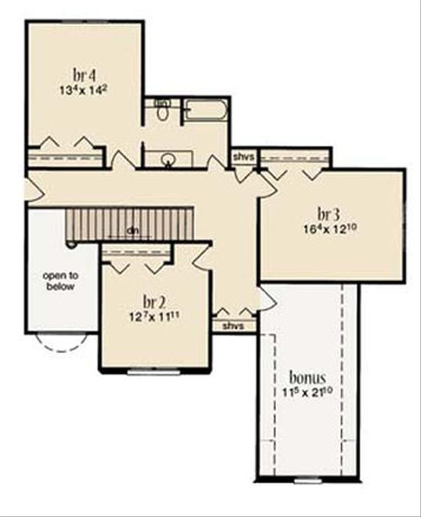 European Floor Plan - Upper Floor Plan Plan #36-472