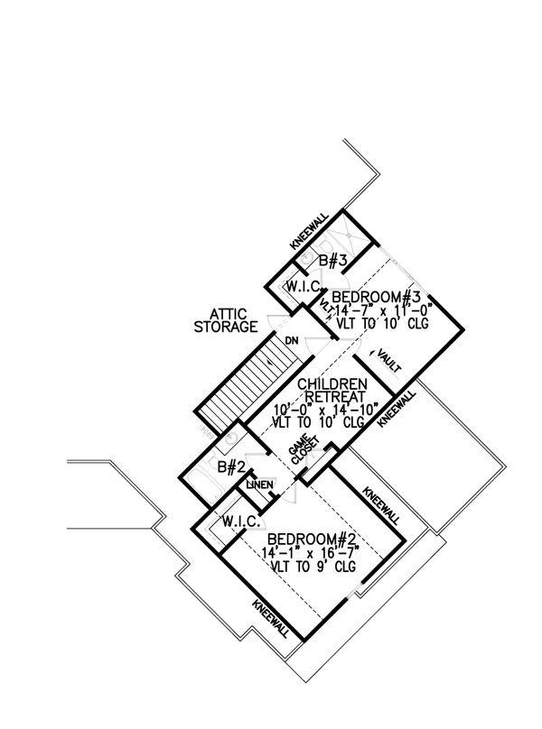 Craftsman Floor Plan - Upper Floor Plan Plan #54-391