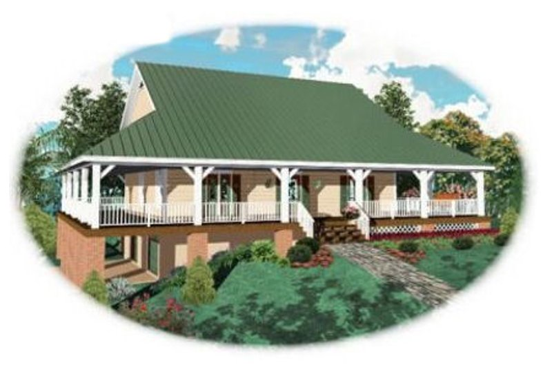 Country Style House Plan - 3 Beds 2.5 Baths 2400 Sq/Ft Plan #81-102 Exterior - Front Elevation