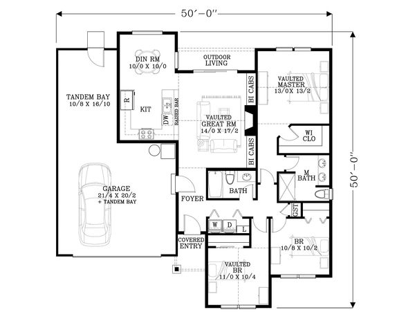 Craftsman Floor Plan - Main Floor Plan Plan #53-595