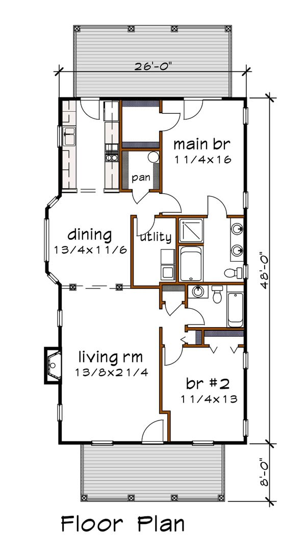 Bungalow Floor Plan - Main Floor Plan #79-174