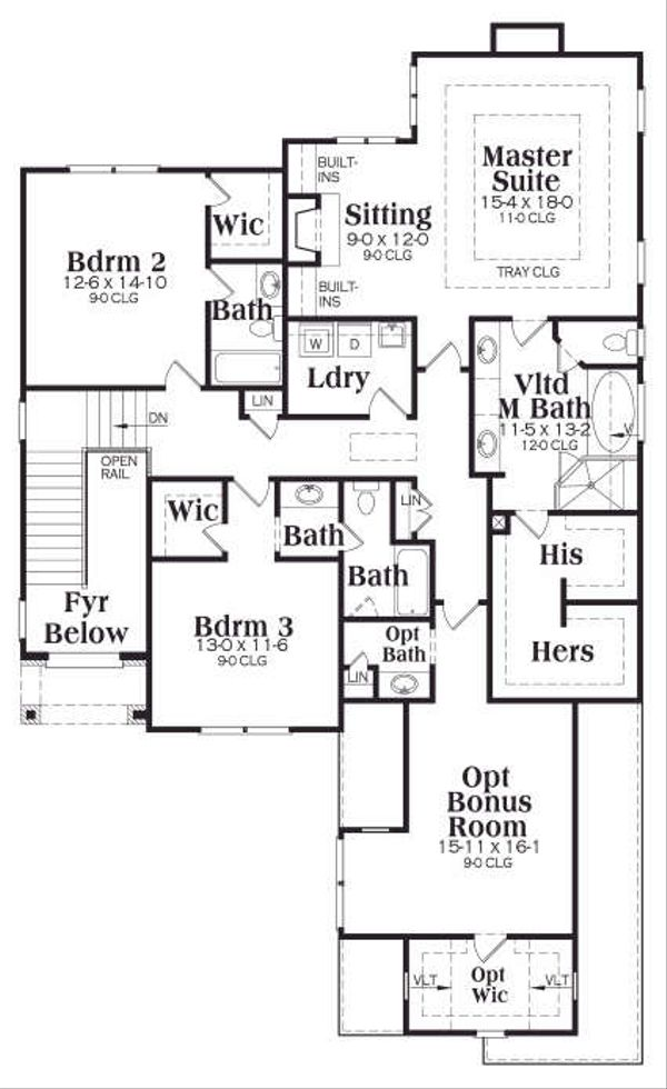 Traditional Floor Plan - Upper Floor Plan Plan #419-169