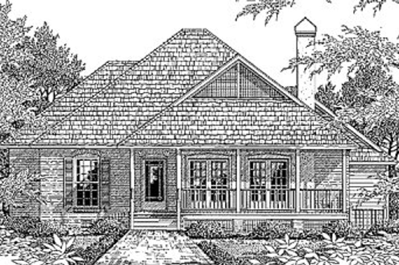 Country Style House Plan - 3 Beds 2 Baths 1507 Sq/Ft Plan #41-114 Exterior - Front Elevation