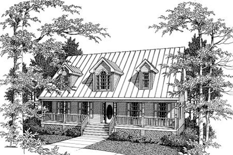 Country Style House Plan - 3 Beds 2 Baths 1889 Sq/Ft Plan #10-207 Exterior - Front Elevation