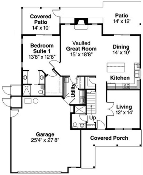 Traditional Floor Plan - Main Floor Plan Plan #124-365