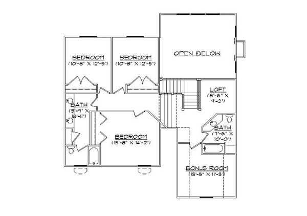 European Floor Plan - Upper Floor Plan Plan #5-462