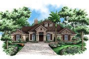 Mediterranean Style House Plan - 3 Beds 3.5 Baths 3242 Sq/Ft Plan #27-418 Exterior - Front Elevation