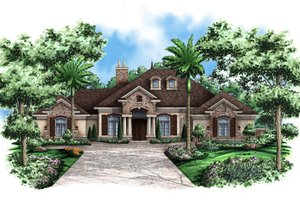 Mediterranean Exterior - Front Elevation Plan #27-418