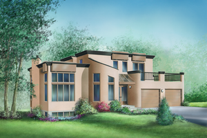 Contemporary Exterior - Front Elevation Plan #25-2166