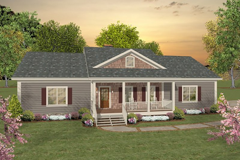 Ranch Style House Plan - 2 Beds 2.5 Baths 1500 Sq/Ft Plan #56-622 Exterior - Front Elevation