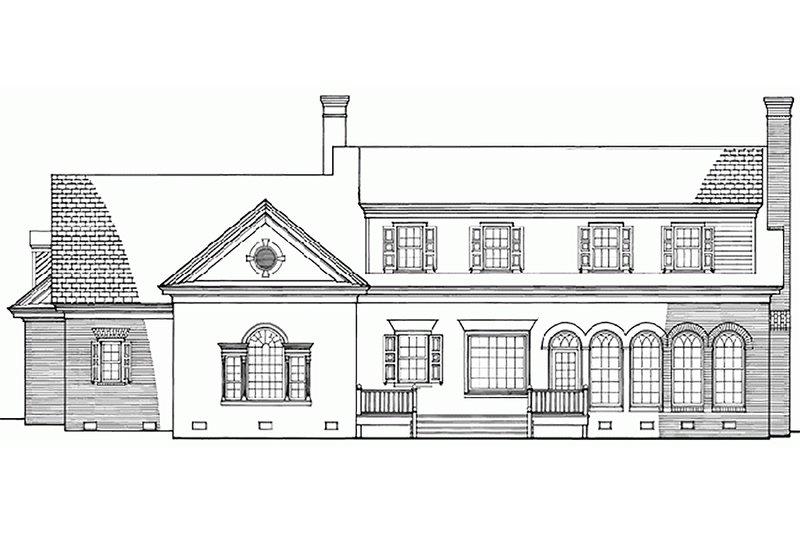 Southern Exterior - Rear Elevation Plan #137-102 - Houseplans.com
