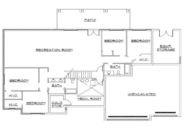 Traditional Floor Plan - Lower Floor Plan Plan #5-269