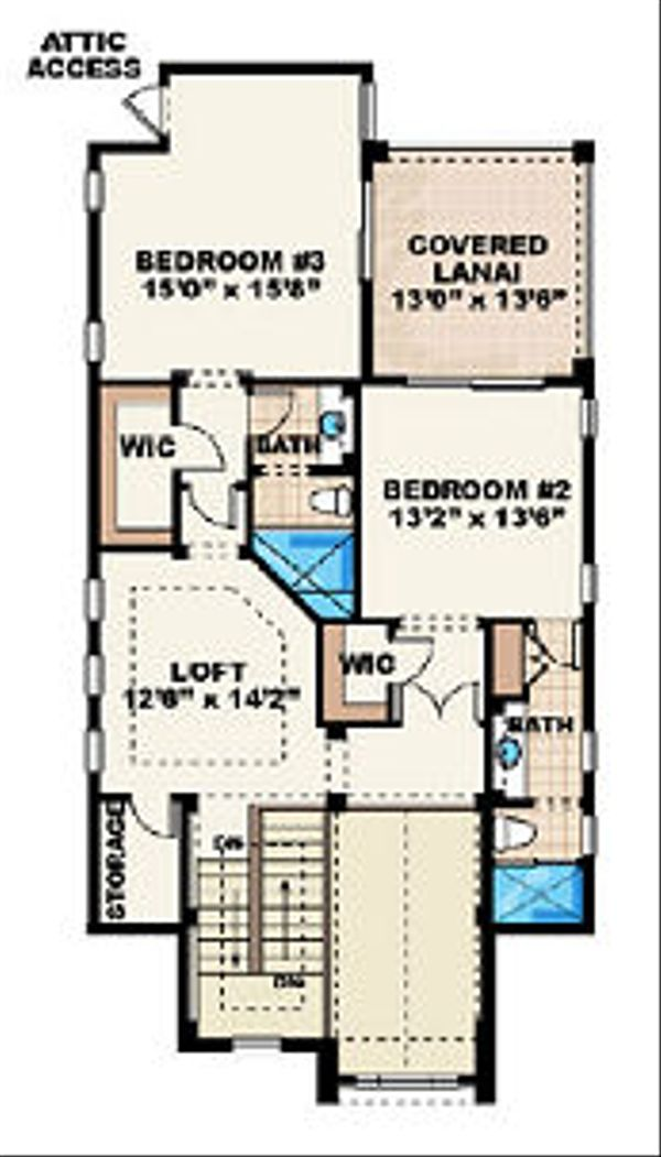 Beach Floor Plan - Upper Floor Plan Plan #27-367