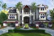 Beach Style House Plan - 4 Beds 4.5 Baths 13562 Sq/Ft Plan #27-488 Exterior - Front Elevation