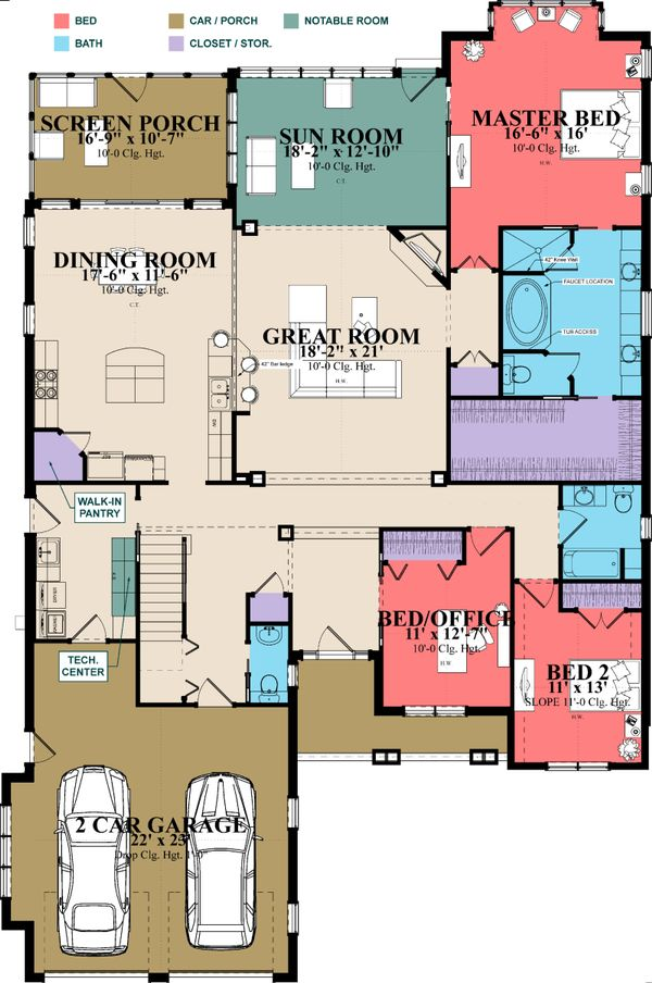 European Floor Plan - Main Floor Plan Plan #63-415