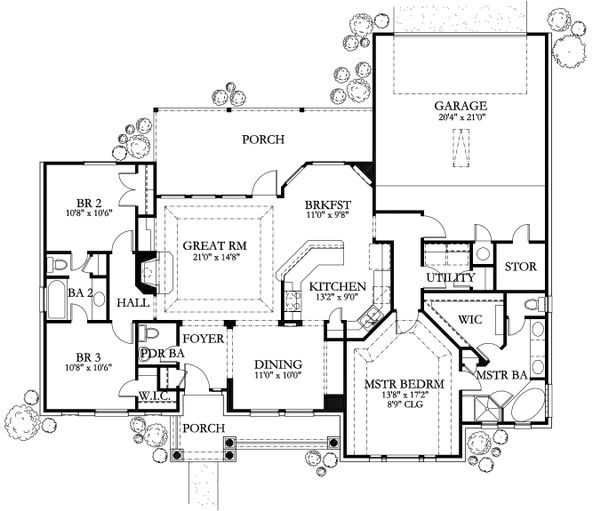 Dream House Plan - Mediterranean Floor Plan - Main Floor Plan #80-202