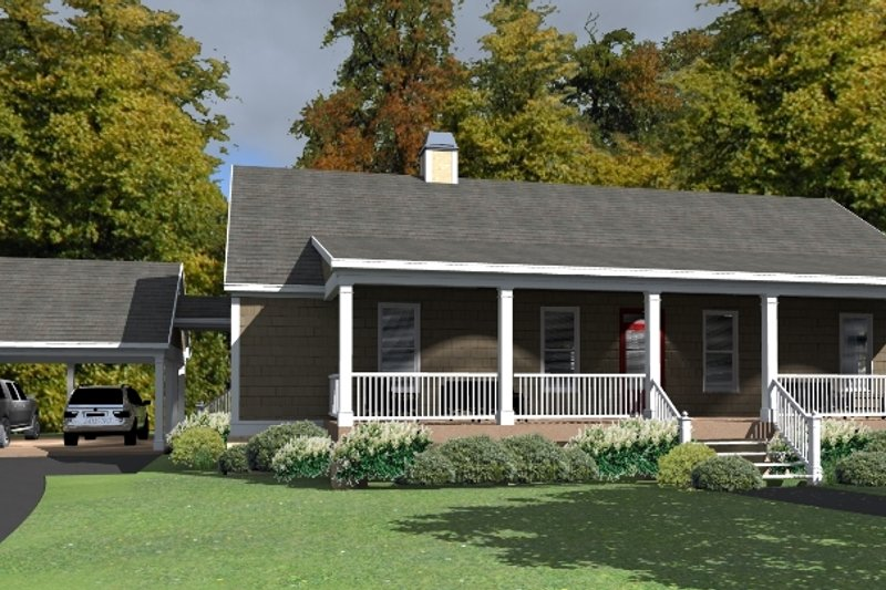 Cottage Exterior - Front Elevation Plan #63-399