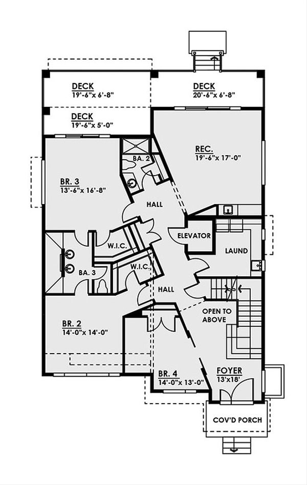 Contemporary Floor Plan - Main Floor Plan Plan #1066-35