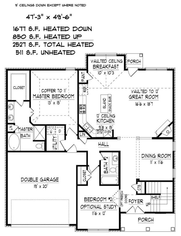Traditional Floor Plan - Main Floor Plan Plan #424-415