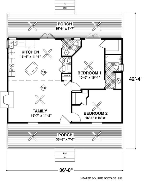 Architectural House Design - Country Floor Plan - Main Floor Plan #56-559