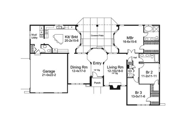 Mediterranean Floor Plan - Main Floor Plan #57-678