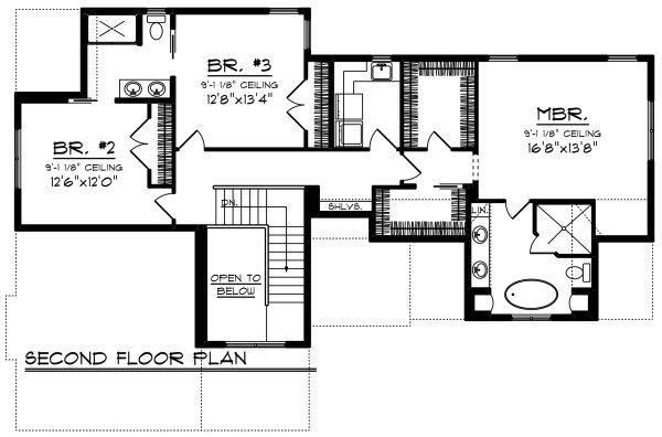 Craftsman Floor Plan - Upper Floor Plan Plan #70-1276