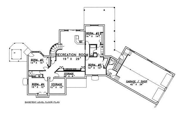 Bungalow Floor Plan - Lower Floor Plan Plan #117-515