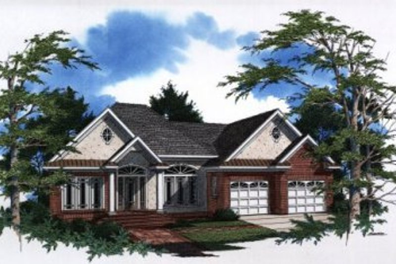 Traditional Style House Plan - 3 Beds 2 Baths 1849 Sq/Ft Plan #41-136 Exterior - Front Elevation