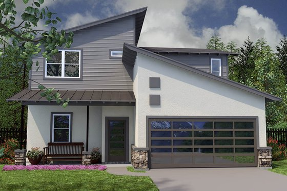 Modern Exterior - Front Elevation Plan #472-8