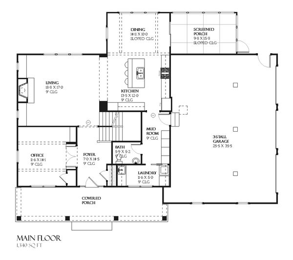 Rustic Craftsman style house plan, main level floorplan