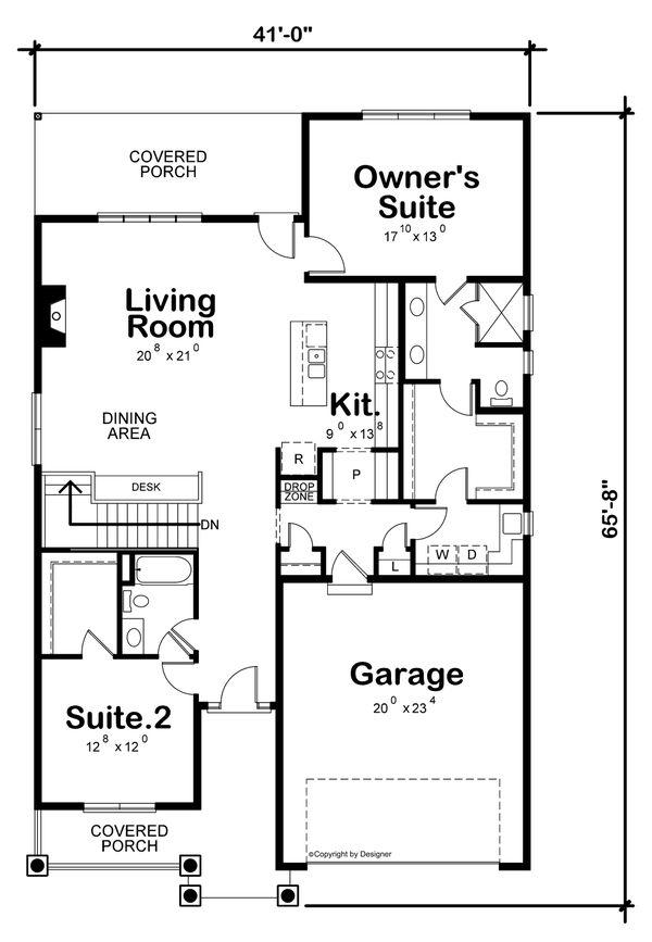 House Plan Design - Tudor Floor Plan - Main Floor Plan #20-2447