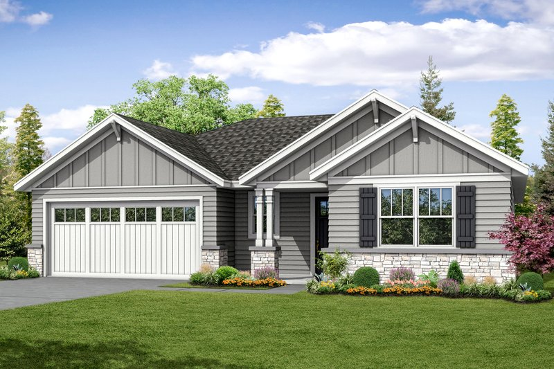 Ranch Exterior - Front Elevation Plan #124-1044