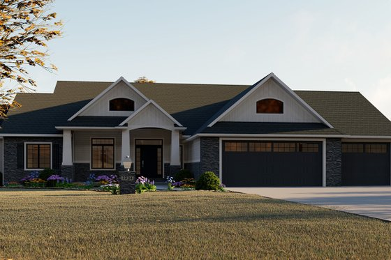 Craftsman Exterior - Front Elevation Plan #1064-12