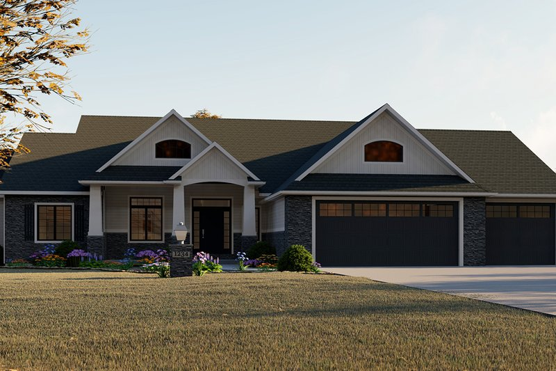 Dream House Plan - Craftsman Exterior - Front Elevation Plan #1064-12