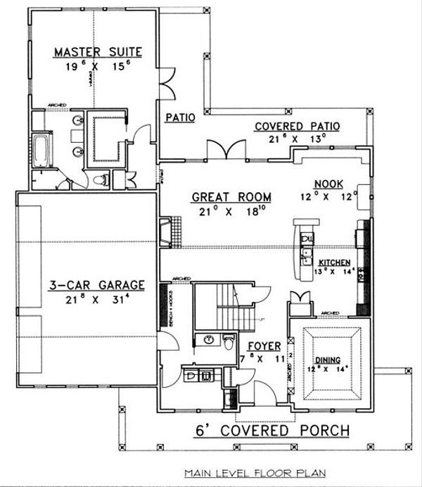 Architectural House Design - Country Floor Plan - Main Floor Plan #117-536