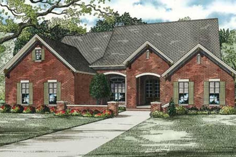 European Style House Plan - 4 Beds 2 Baths 2135 Sq/Ft Plan #17-2296 Exterior - Front Elevation