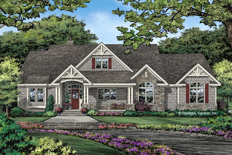 Ranch Exterior - Front Elevation Plan #929-1059