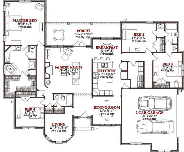 Traditional Floor Plan - Main Floor Plan Plan #63-224