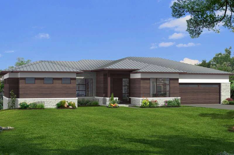 Dream House Plan - Modern Exterior - Front Elevation Plan #1057-25