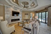 Mediterranean Style House Plan - 4 Beds 4 Baths 3012 Sq/Ft Plan #27-445 Interior - Family Room