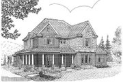 European Style House Plan - 4 Beds 3.5 Baths 3044 Sq/Ft Plan #410-411 Exterior - Front Elevation