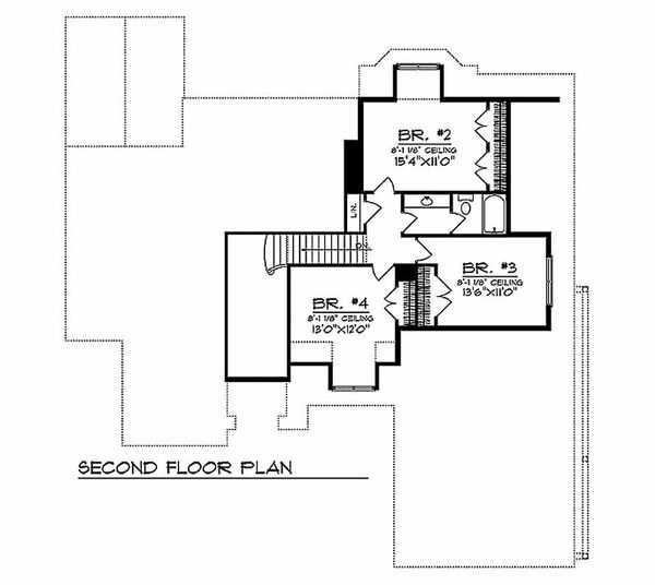 European Floor Plan - Upper Floor Plan Plan #70-489